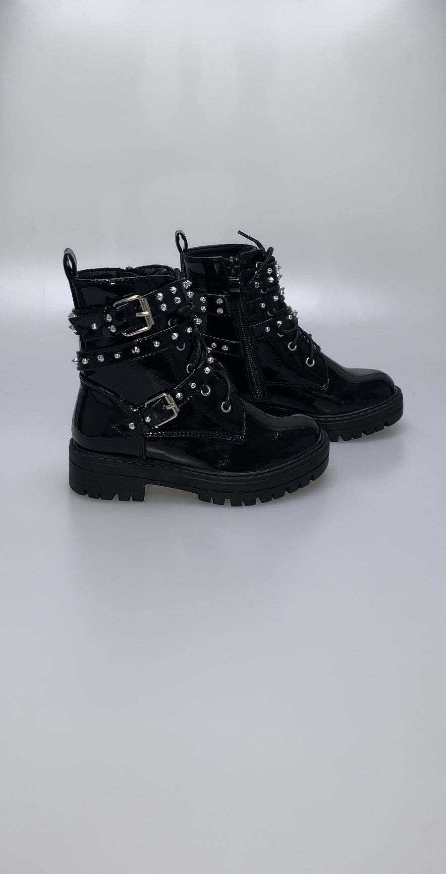 Carly Chunky Studded Ankle Boots With Buckles Black Faux Leather Patent