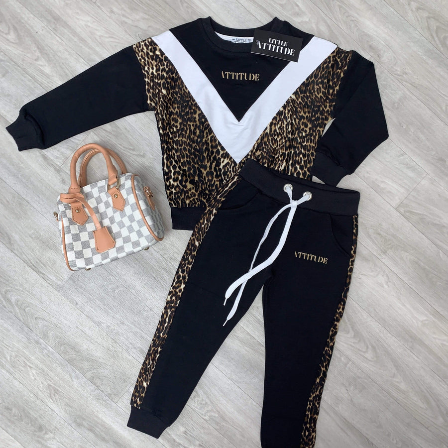 Imani Leopard Print Attitude Embroidered Soft Tapered Tracksuit Black