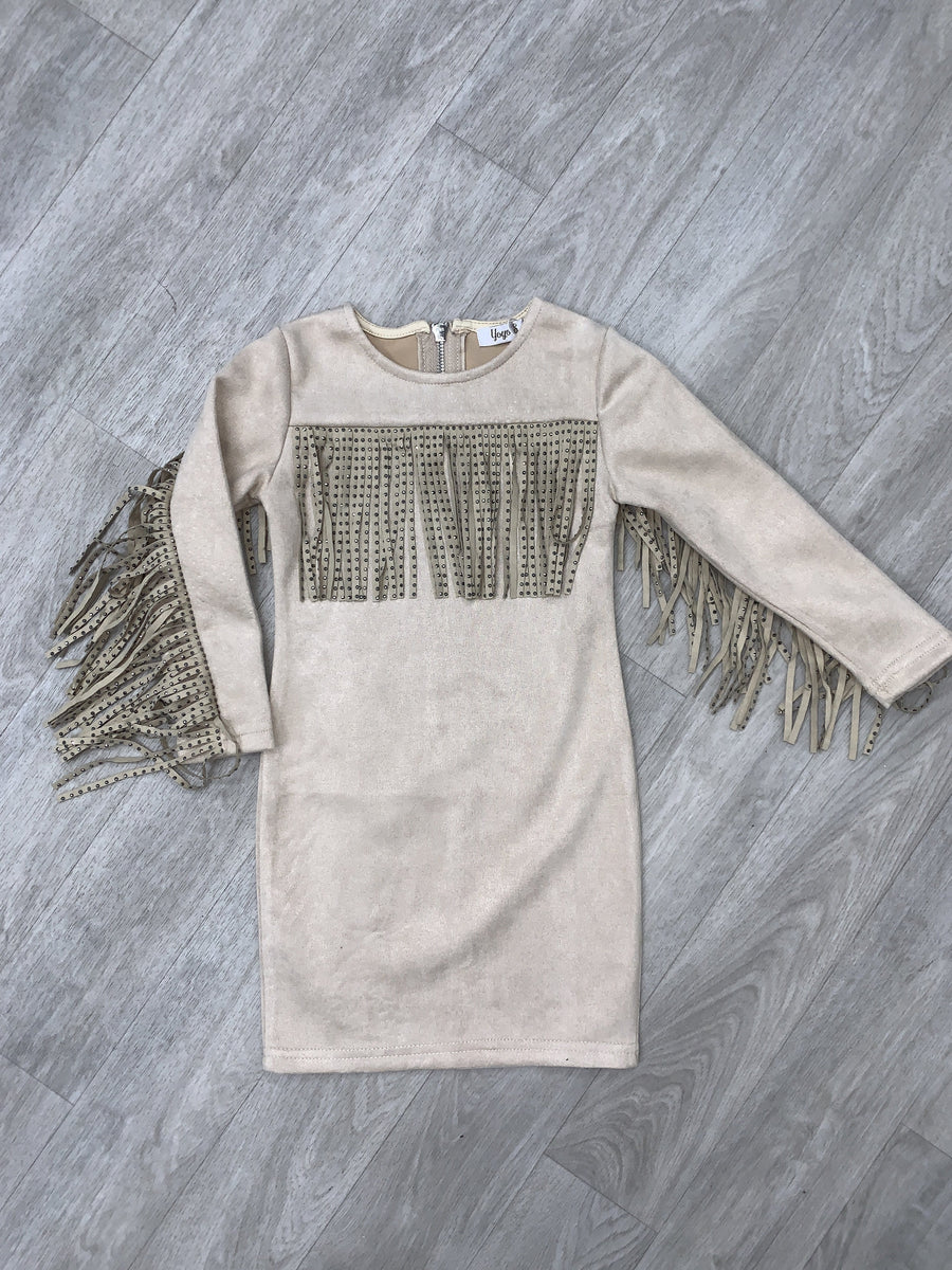 Bexley Fringe Detailing Suede Mini Dress Beige