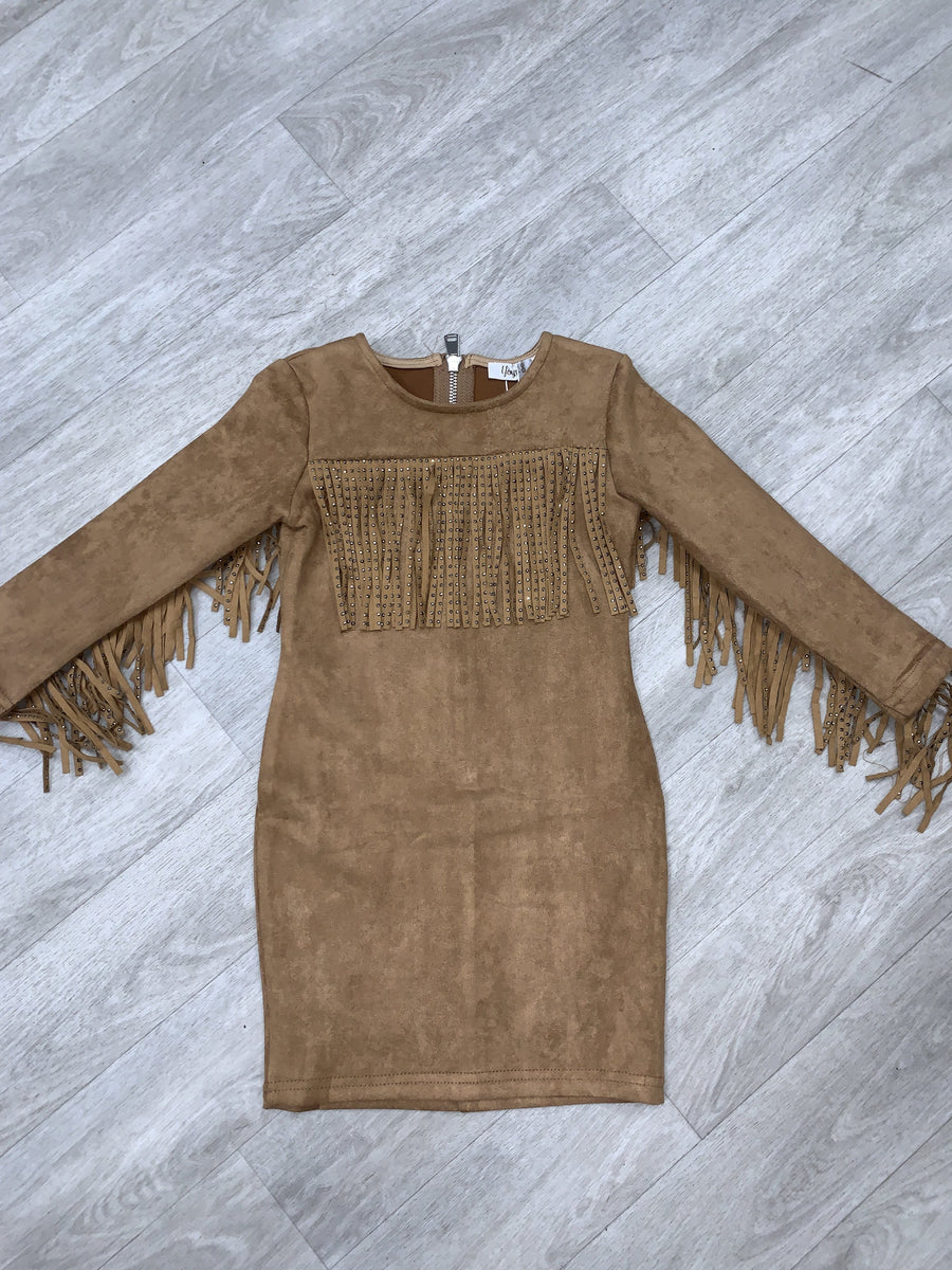 Bexley Fringe Detailing Suede Mini Dress Camel