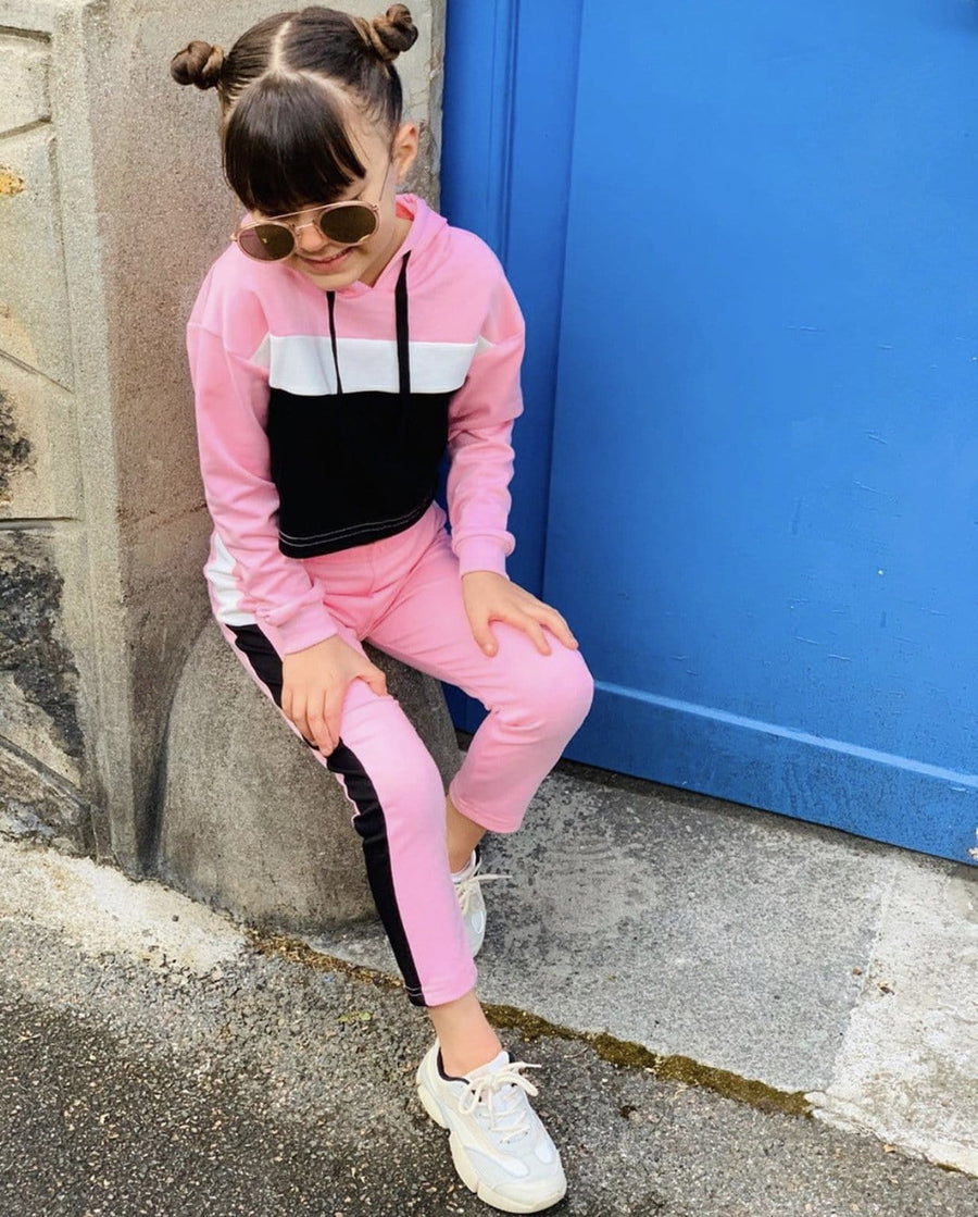 Billie Side Stripe Cropped Hoodie Co-Ord Tracksuit Set Pink