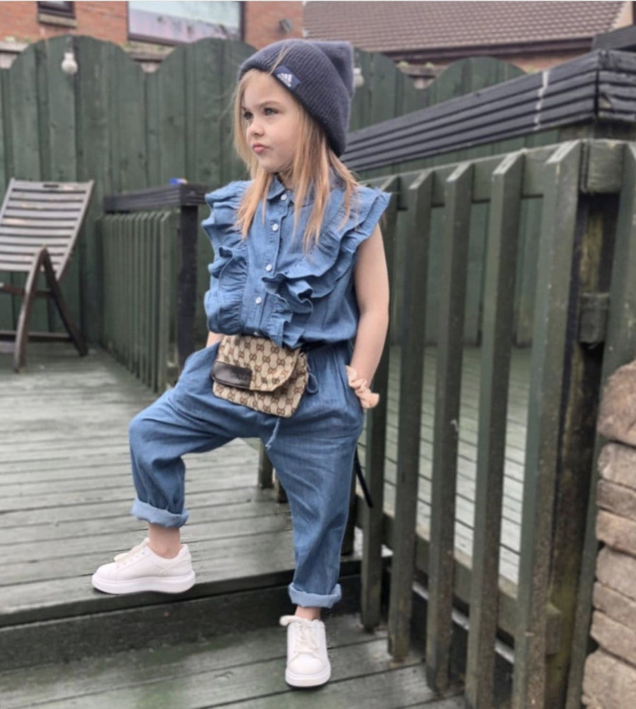 Kelli Denim Look Frilled Jumpsuit Blue From Little Attitude