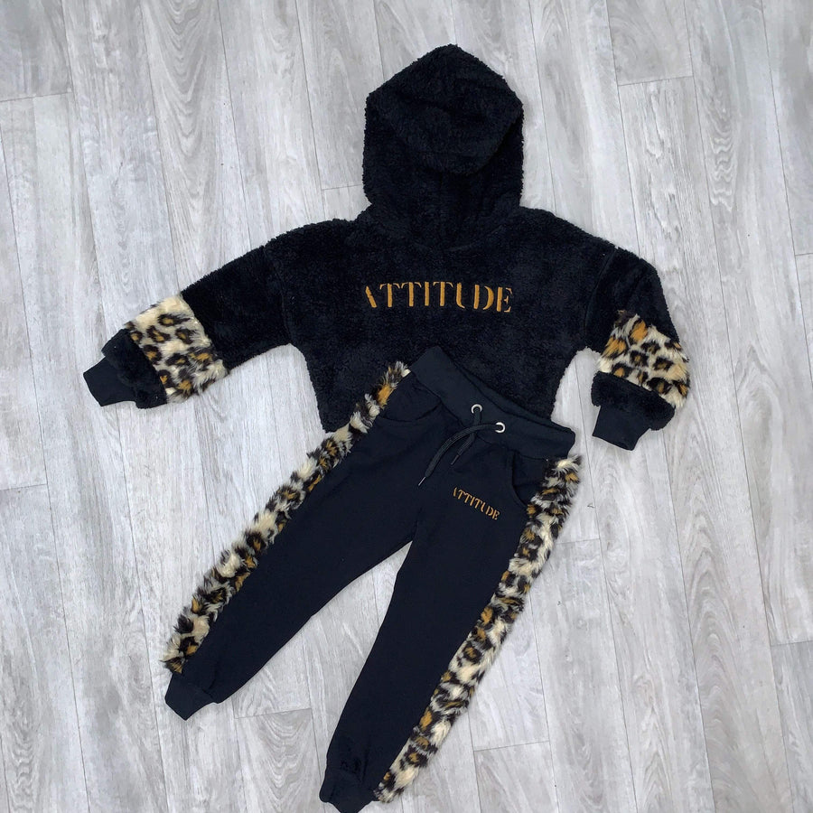 Cassie Fleece Leopard Print Attitude Embroidered Tracksuit Set Black