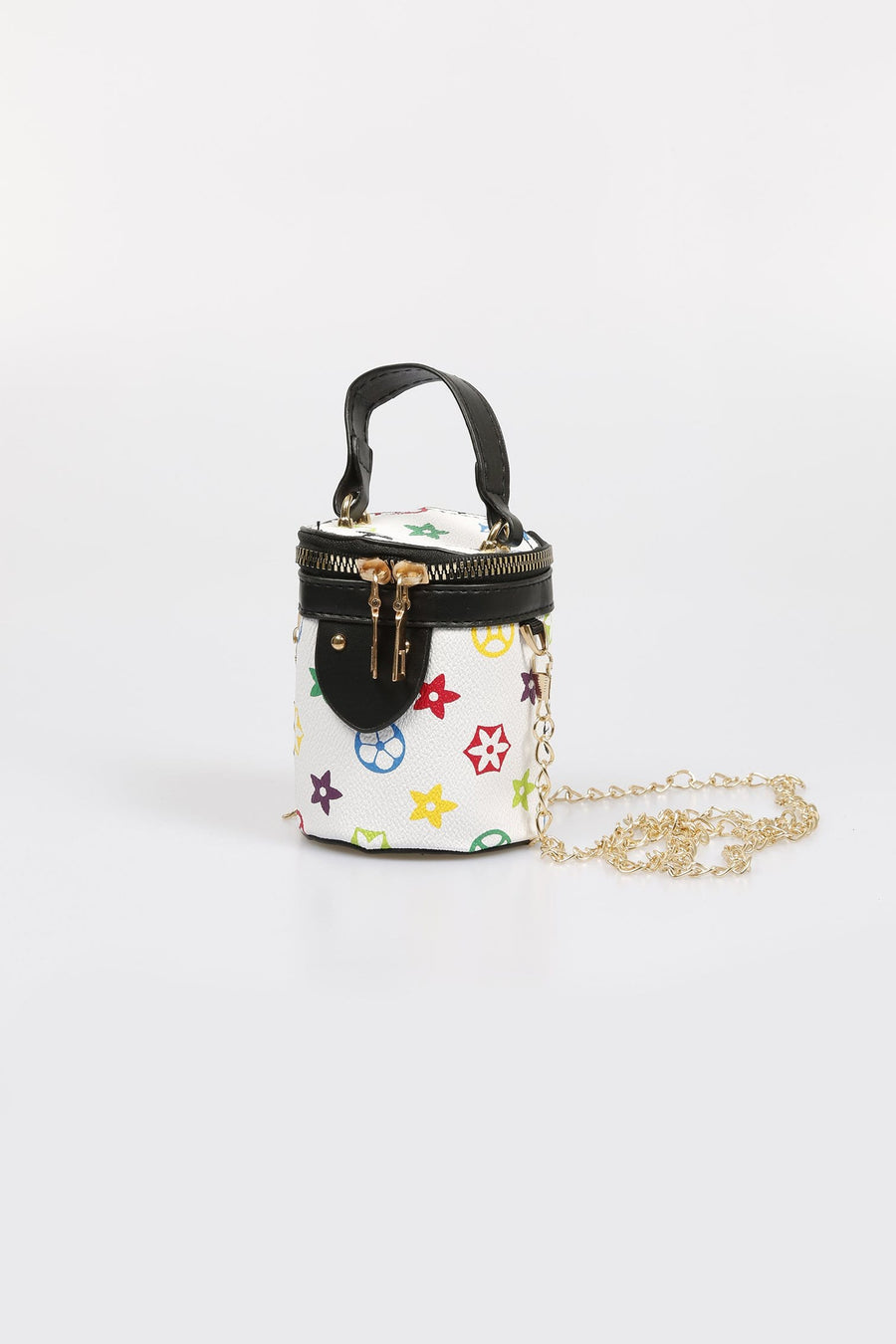 Lexi Printed Chain Strap Cylinder Bag White From Little Attitude