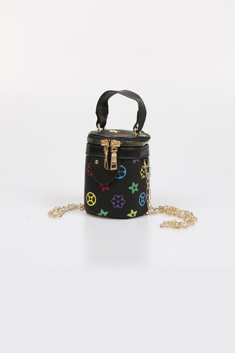 Lexi Printed Chain Strap Cylinder Bag Black From Little Attitude