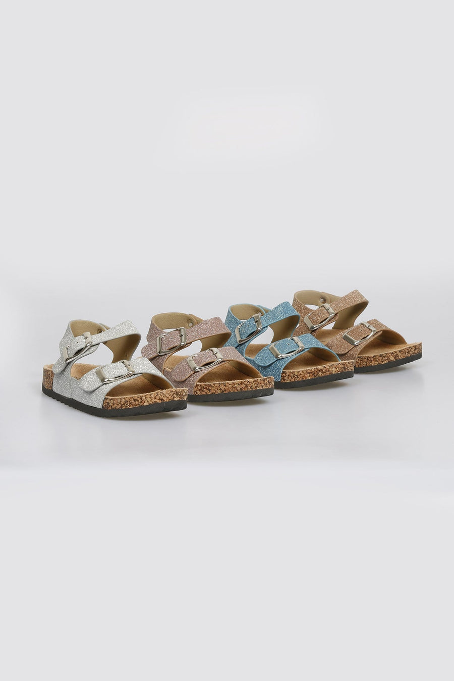 Sandi Buckle Strap Cork Sole Glitter Sandals Silver