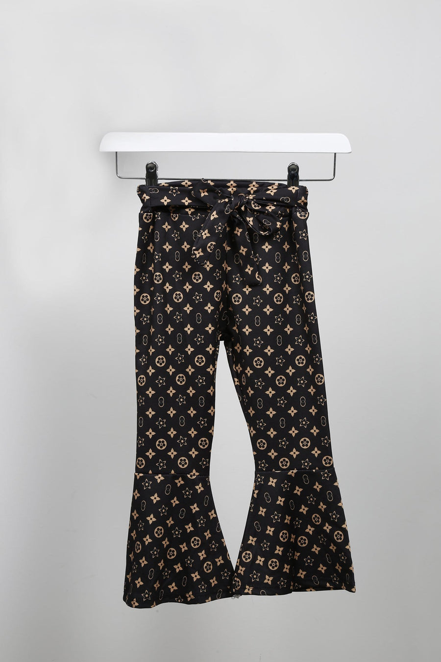 Louisa Printed Tie Waist Flared Trousers Black