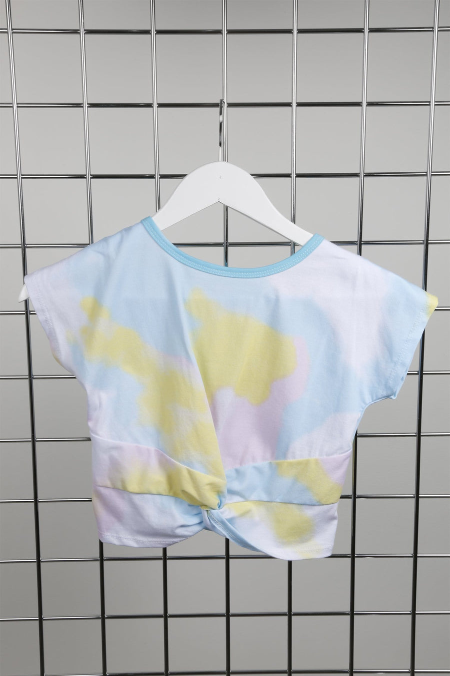 Summa Knot Front Cropped Tie Dye T Shirt Blue From Little Attitude