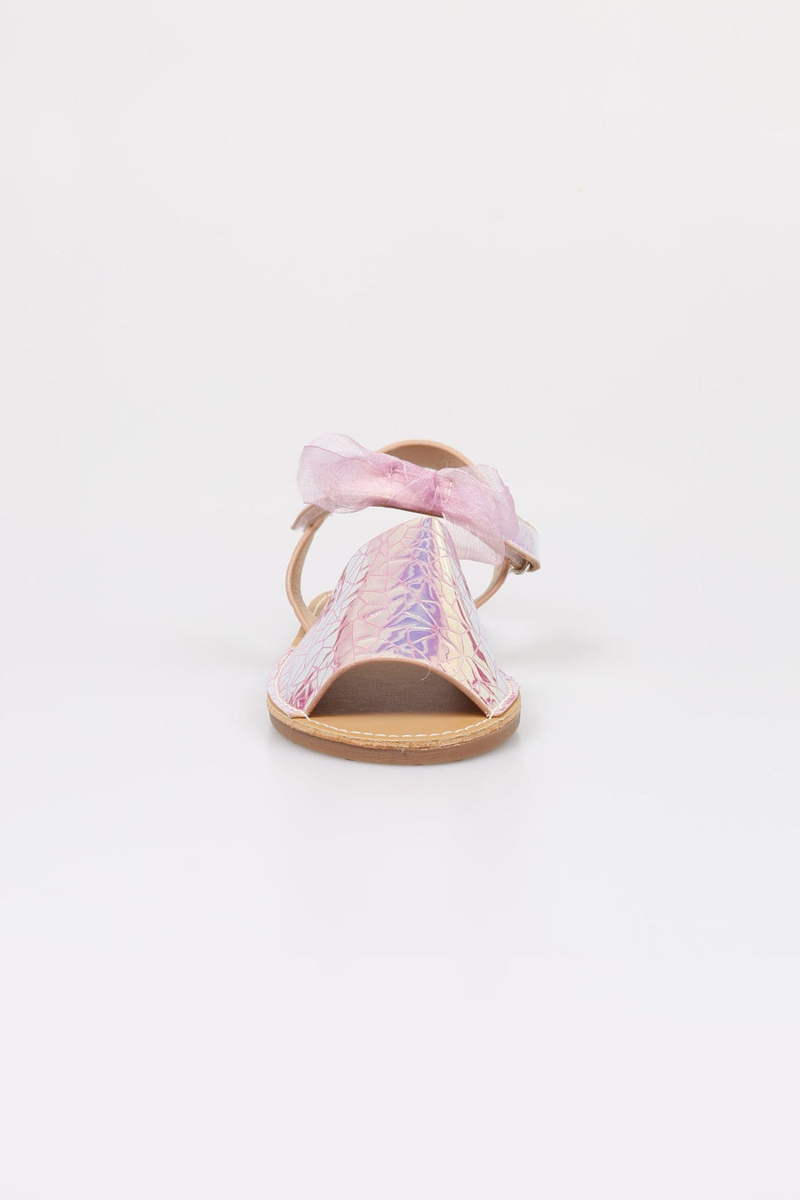 Jenny Velcro Strap Holographic Sandals Pink