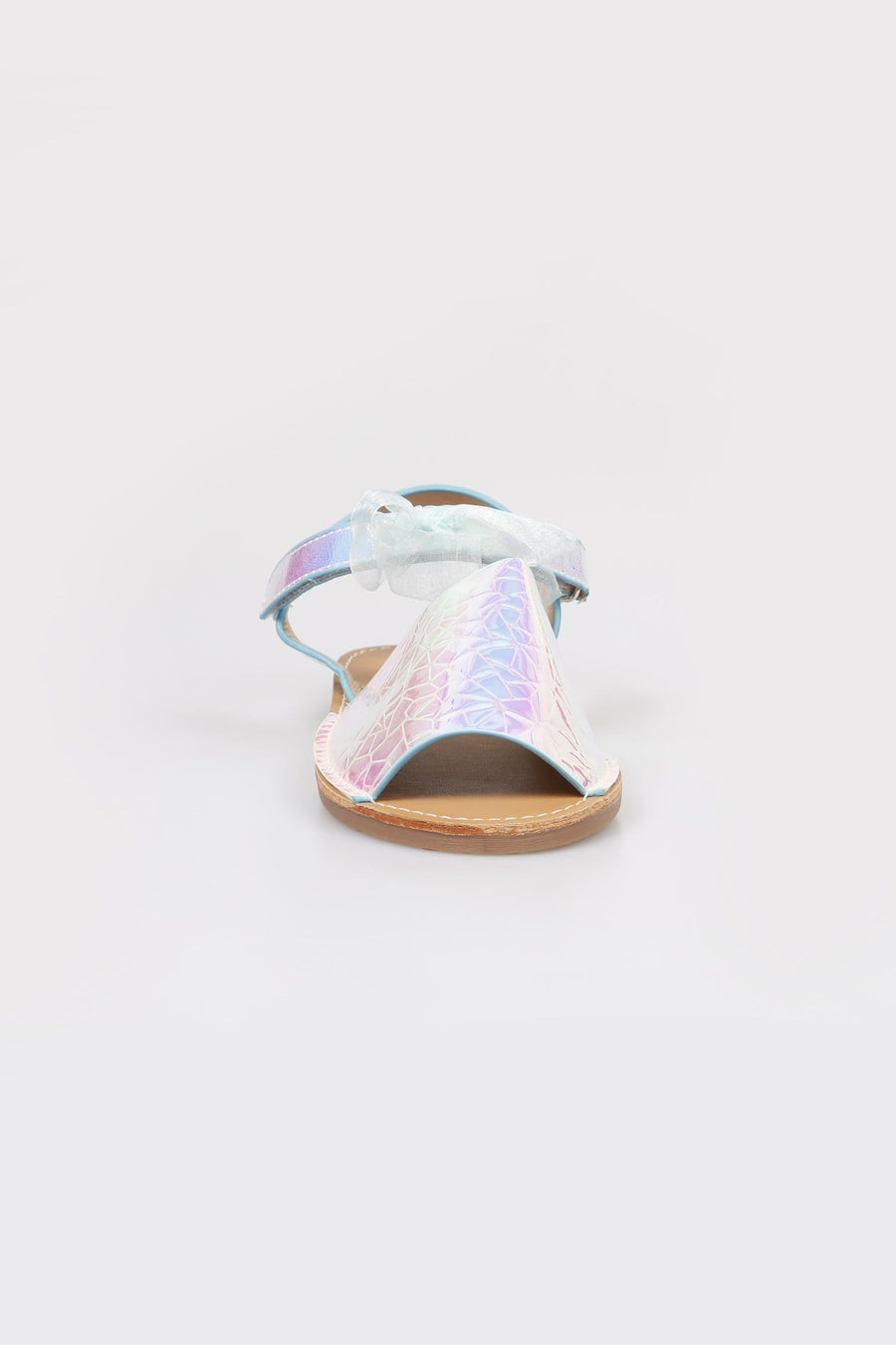 Jenny Velcro Strap Holographic Sandals Silver