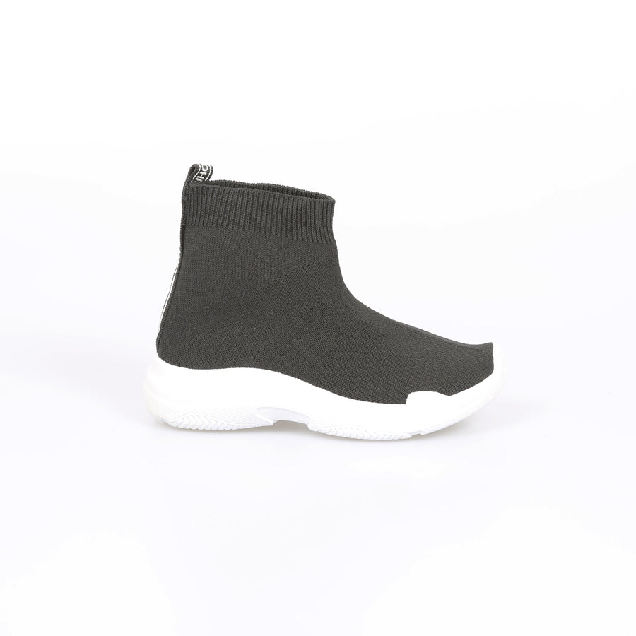Avi Knitted Mid Ankle Chunky Sole Sock Trainers Black/White From Little Attitude
