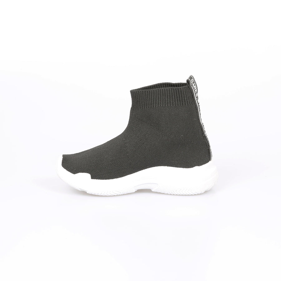 Avi Knitted Mid Ankle Chunky Sole Sock Trainers Black/White