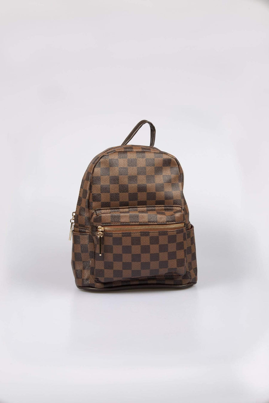Cici Zip Detail Checked Backpack Faux Leather Brown From Little Attitude