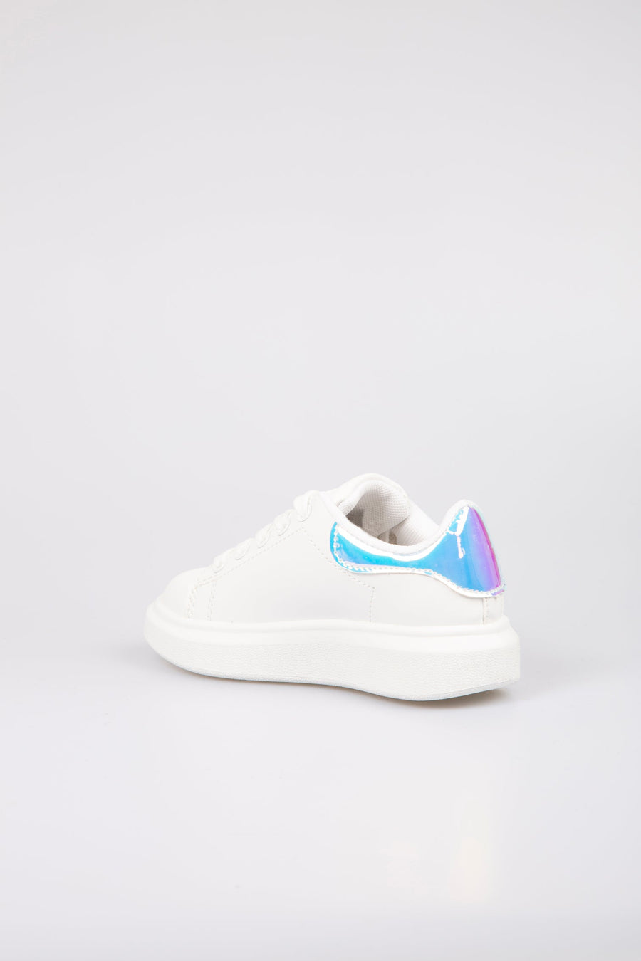 Alexi Runway Holographic Detail Platform Trainers Light White/Blue