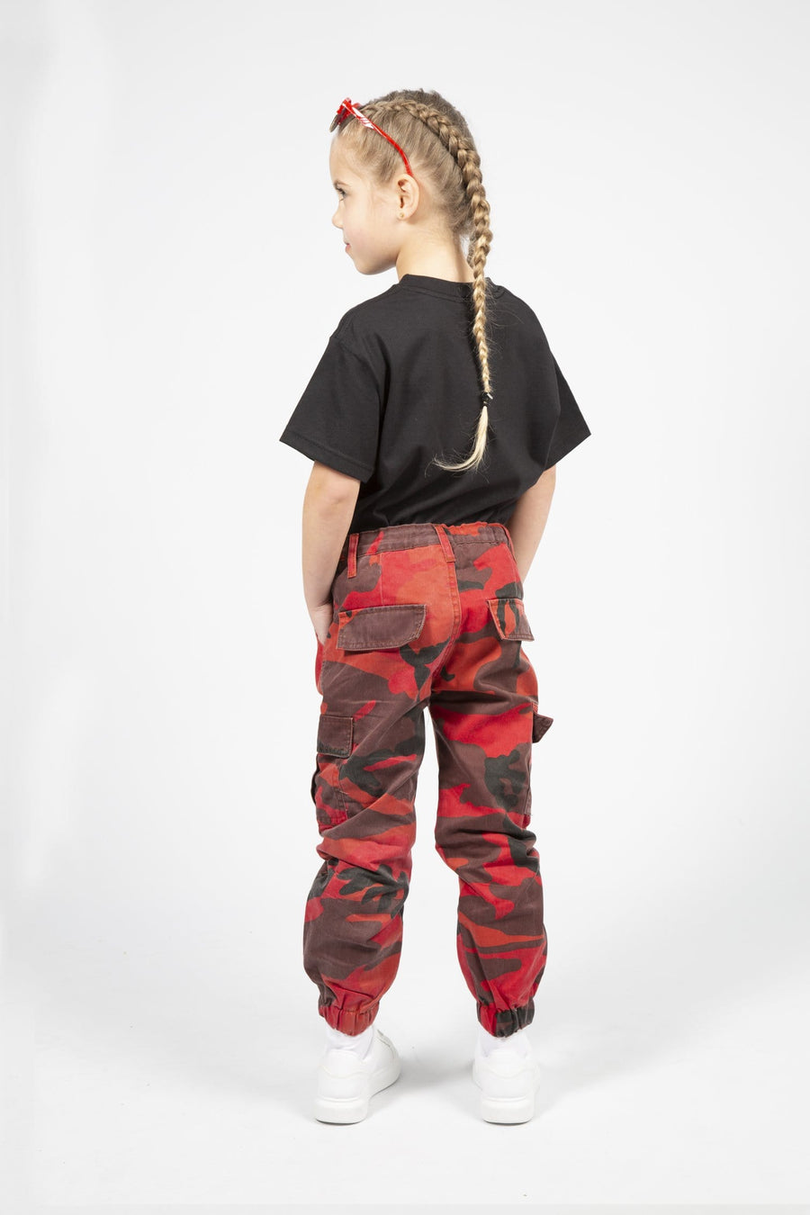 Xena Side Pocked Detail Cuffed Hem Army Print Cargo Pants Red