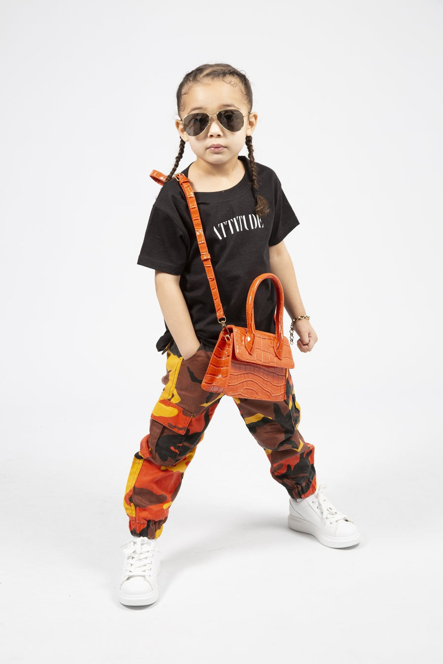 Xena Army Cargo Pants Orange From Little Attitude