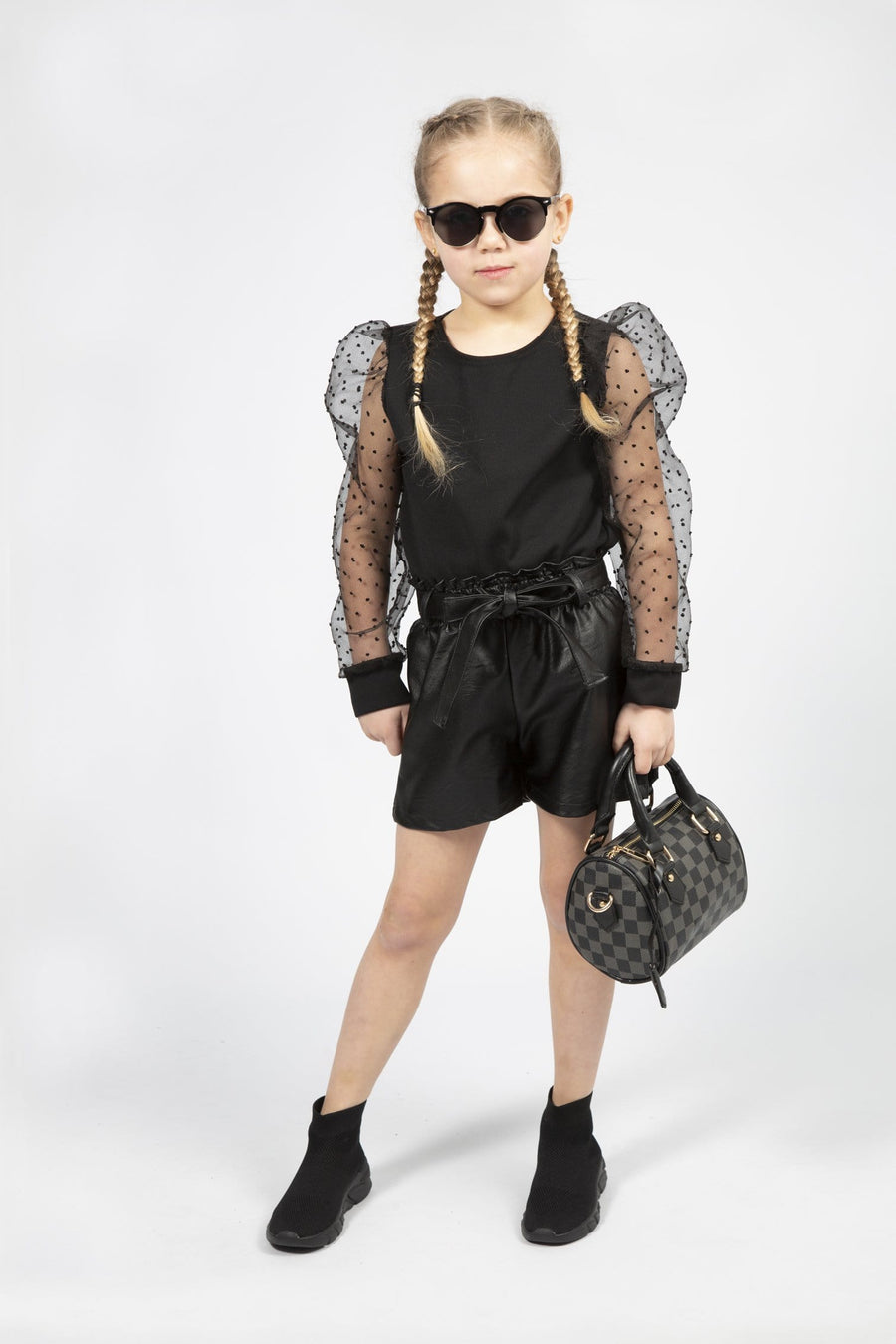 Cally Wet Look Shorts Black From Little Attitude