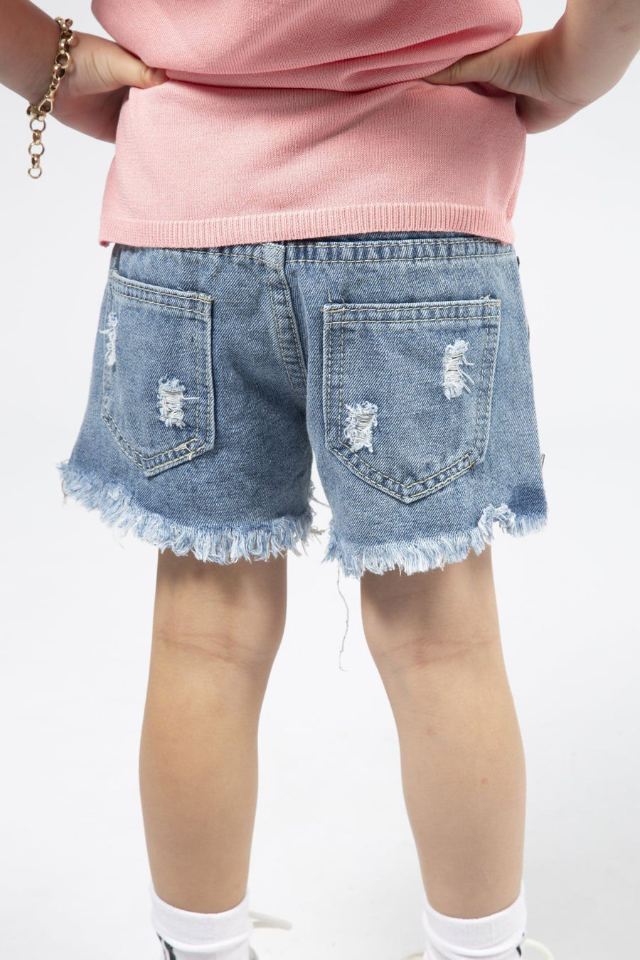 Chaise Studded Pearl Detail Side Zip Frayed Hem Denim Shorts Blue