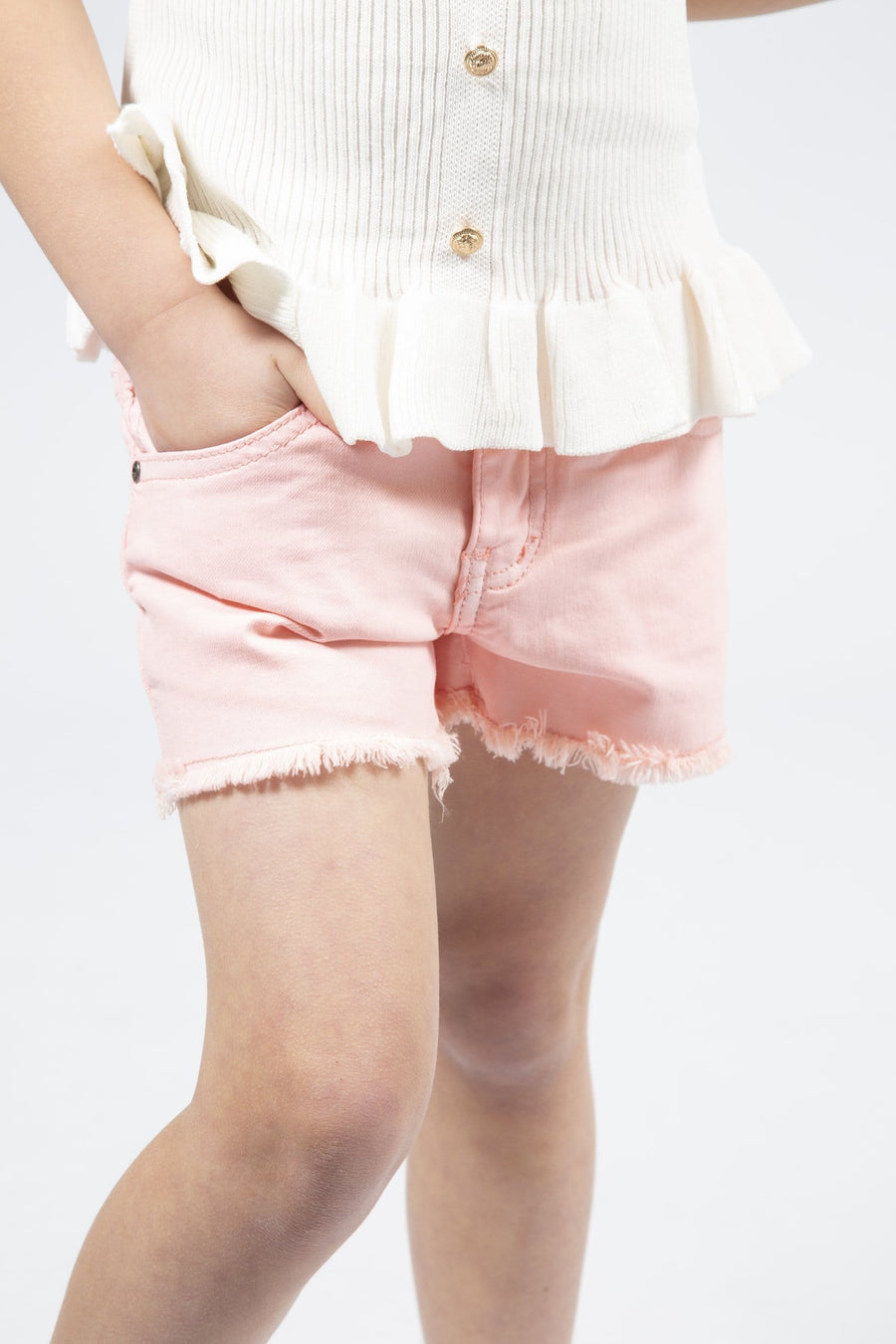 Rubie Distressed Hem Low Waist Denim Shorts Pink