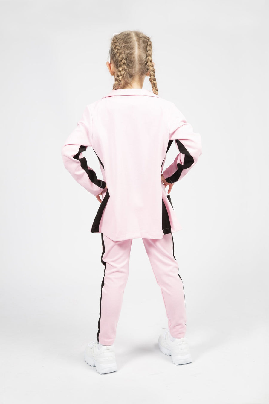Erin 4 Piece Side Stripe Blazer Tapered Suit Set Pink/Black