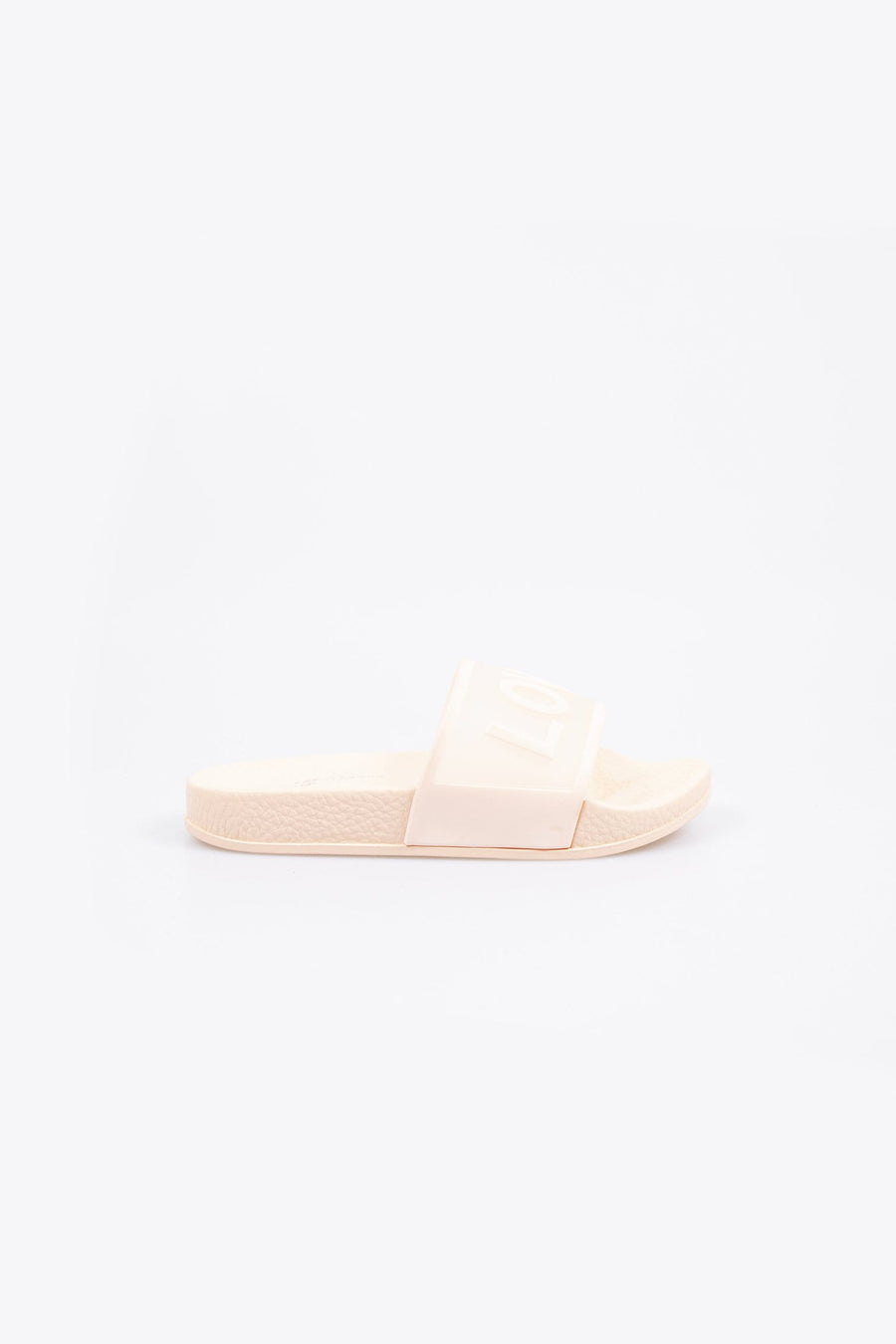 Love Printed Clear Strap Girls Sliders Pink