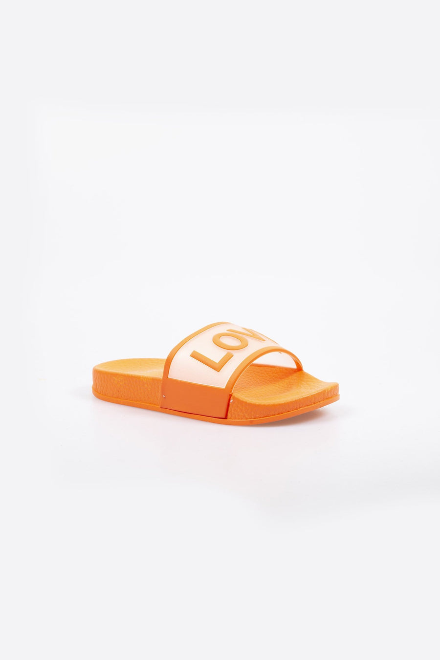 Love Printed Clear Strap Girls Sliders Orange