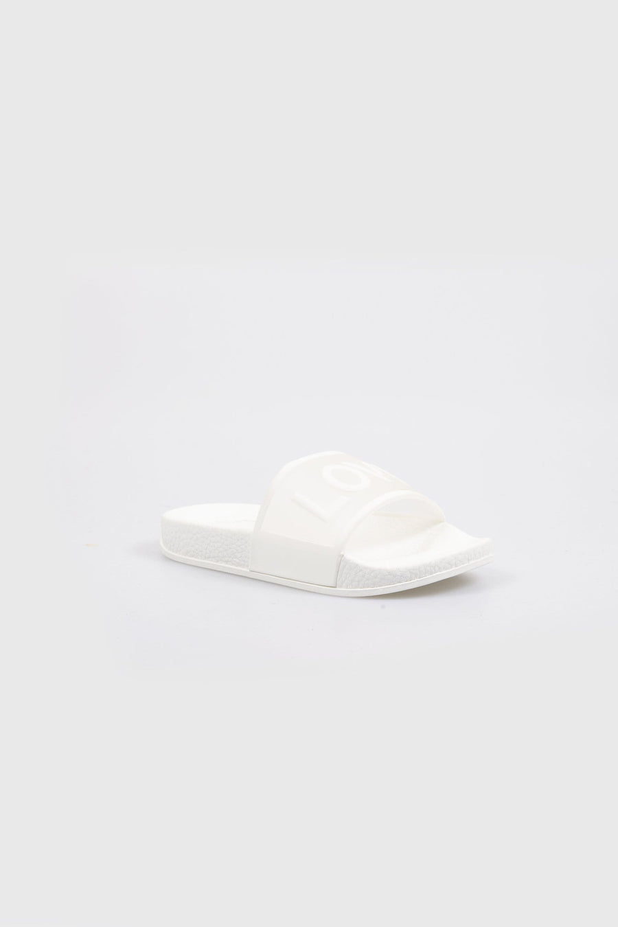 Love Printed Clear Strap Girls Sliders White
