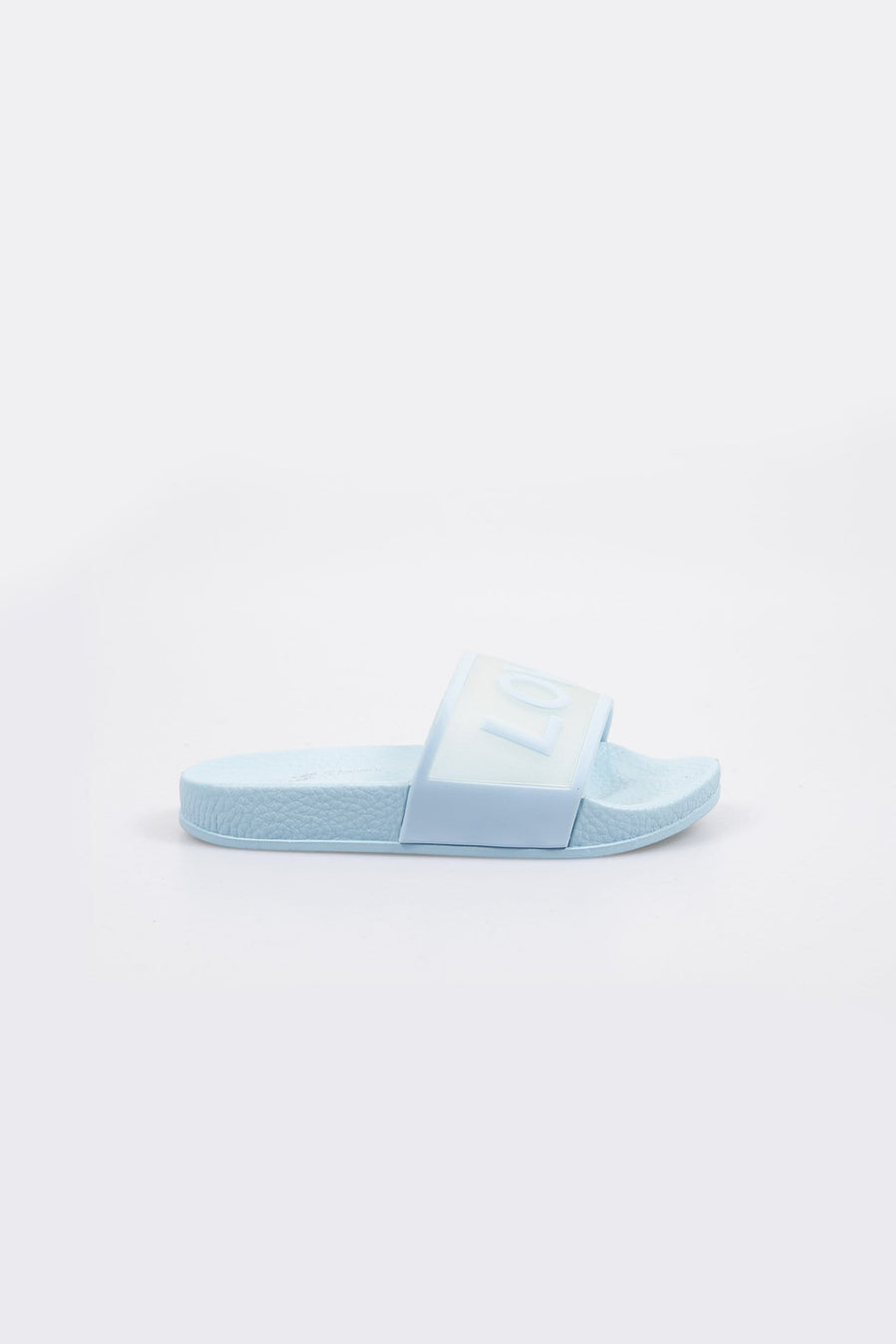 Love Printed Clear Strap Girls Sliders Blue