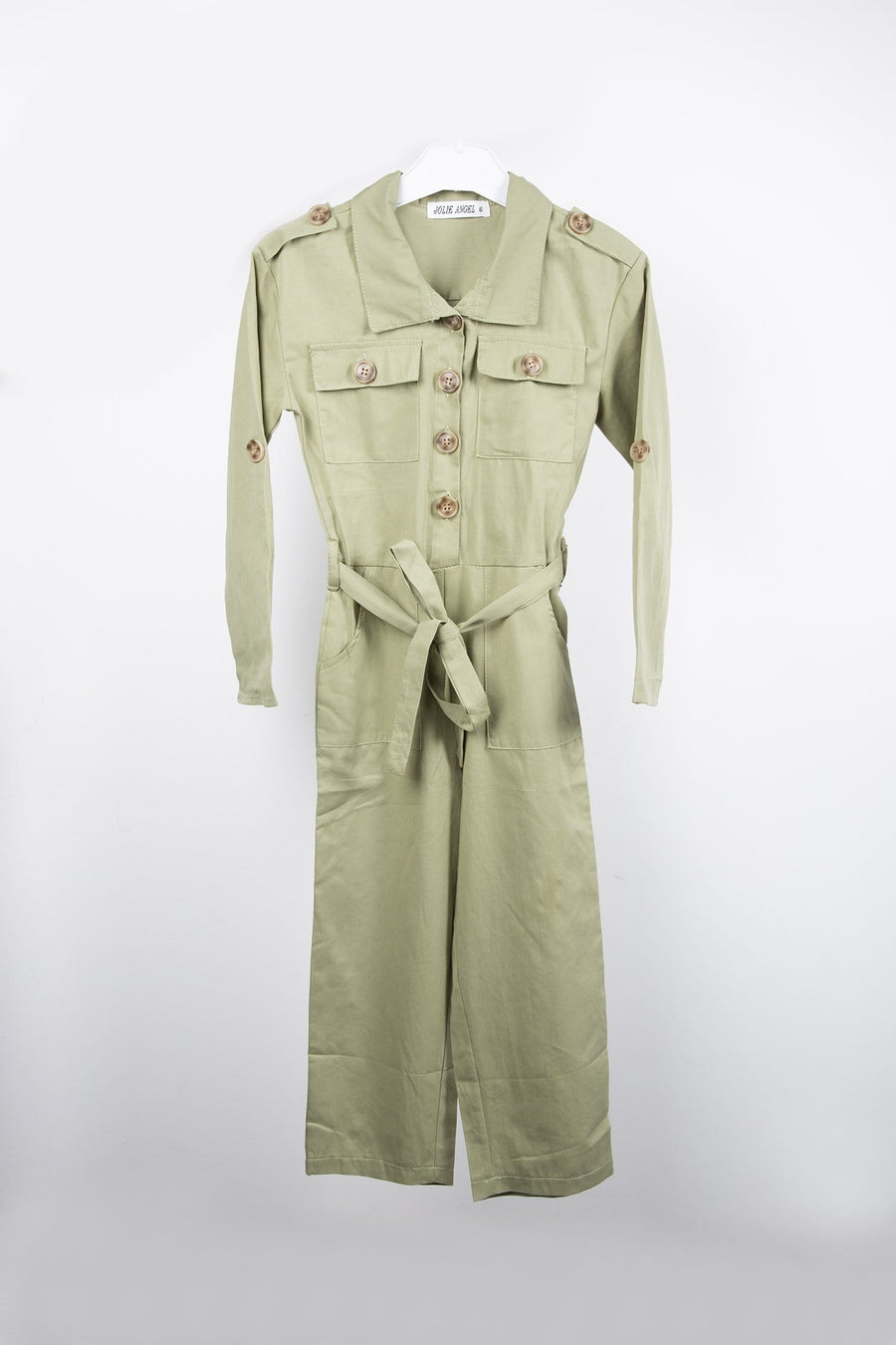 Missie Button Up Pocket Detail Tie Waist Long Sleeve Jumpsuit Khaki