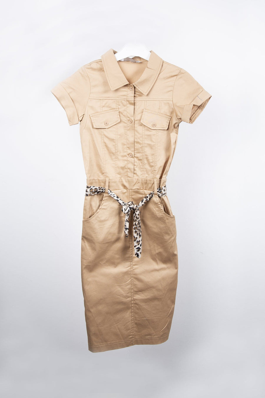 Holly Safari Belted Button Up Midaxi Dress Nude