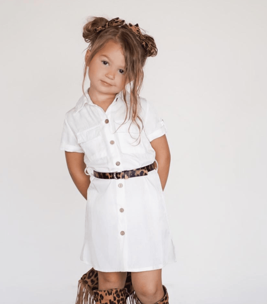 Jackson Button Detail Tie Waist Silky Cargo Dress White