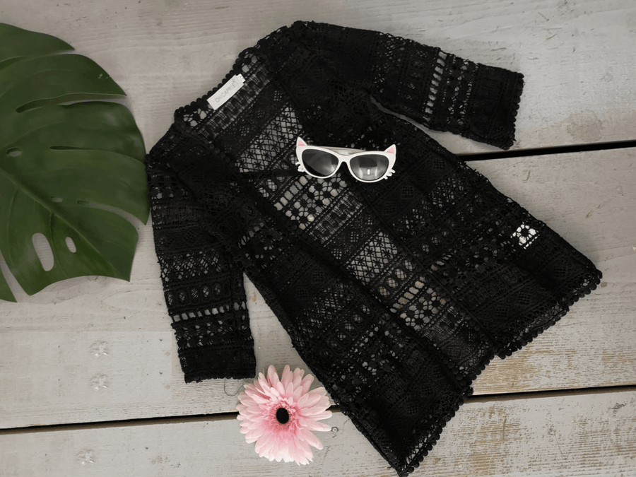 Ella Crochet Cardigan Black  From Little Attitude