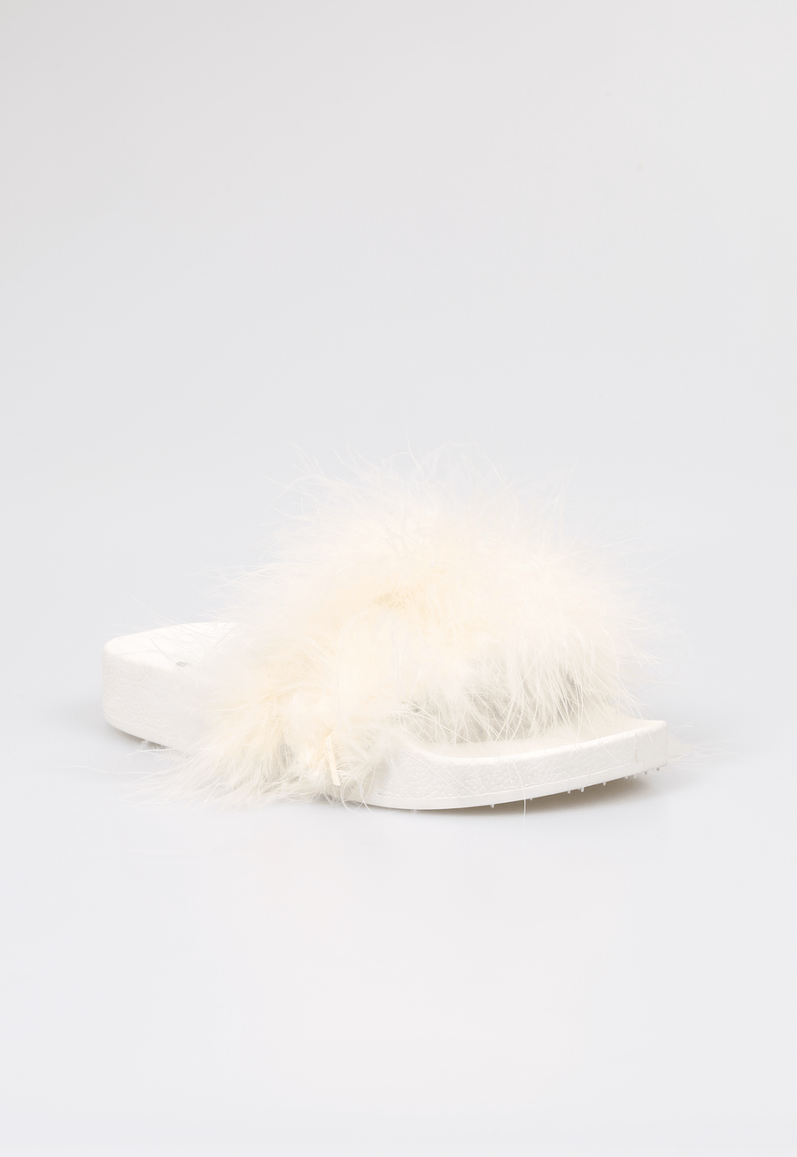 Isa Soft Feather Strap Sliders White From Little Attitude