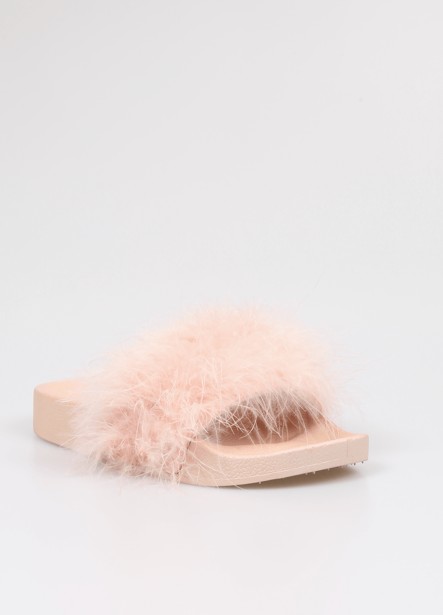 Isa Soft Feather Strap Sliders Pink From Little Attitude