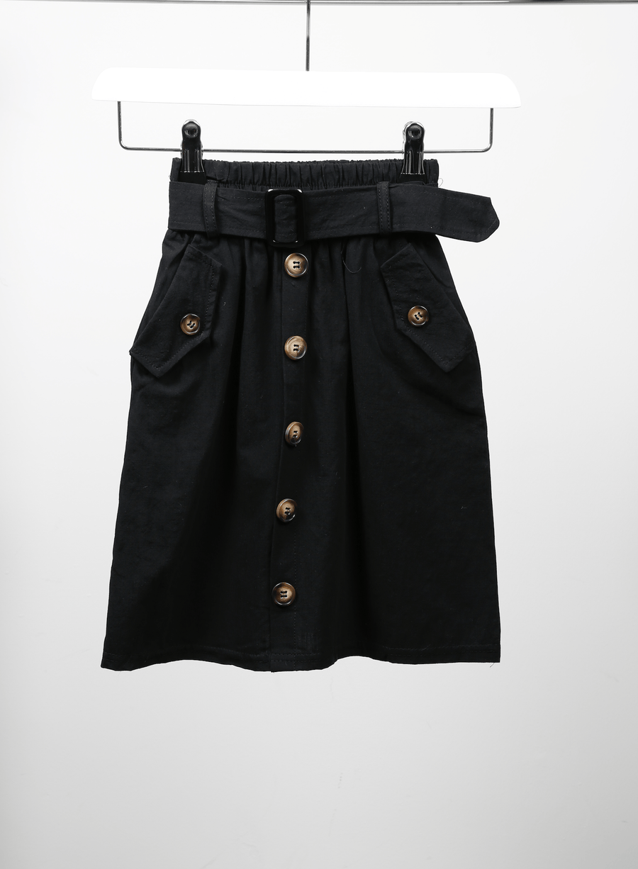 Emily Buttoned Detail Belt Waist 3/4 Length Skirt Black