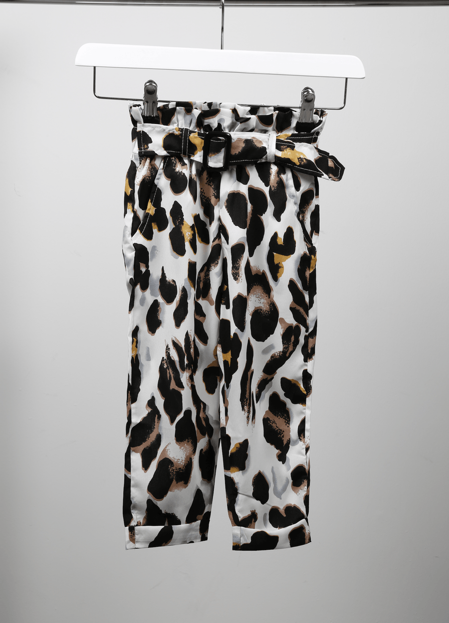 Ellie Leopard Print Trousers White  From Little Attitude