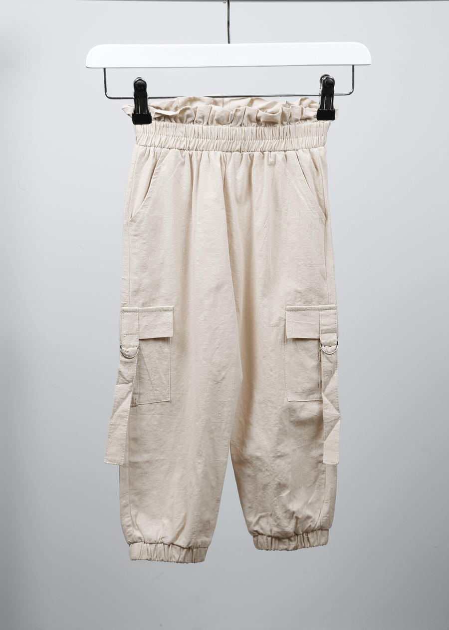 Sara Side Pocket Detail Pleated Waist Cargo Trousers Nude From Little Attitude