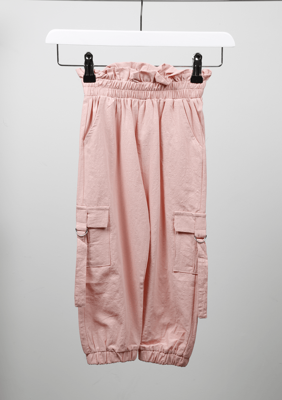 Sara Side Pocket Detail Pleated Waist Cargo Trousers Pink From Little Attitude