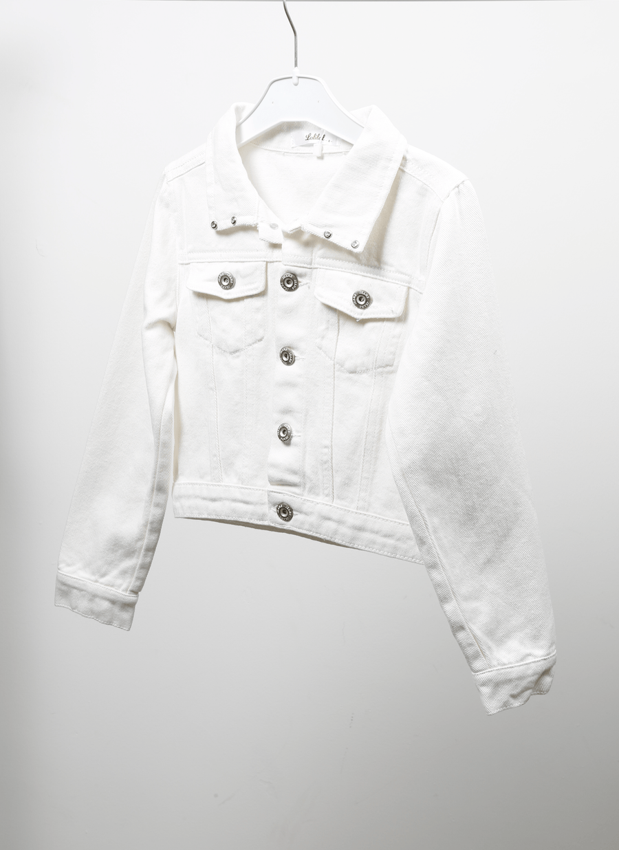 Tori Crystal Denim Jacket White From Little Attitude