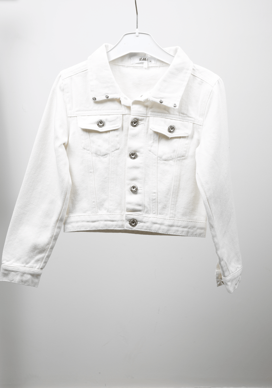 Tori Crystal Detail Button Denim Jacket White