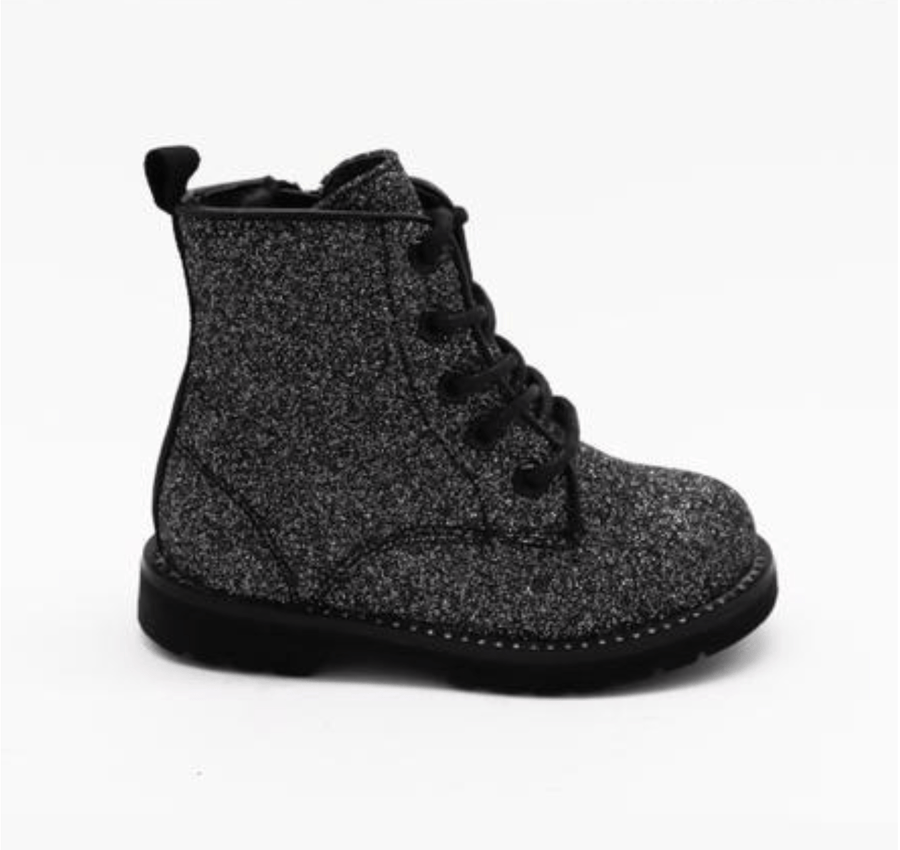 Baby Logan Studded Bottom Lace Up Glitter Boots Black