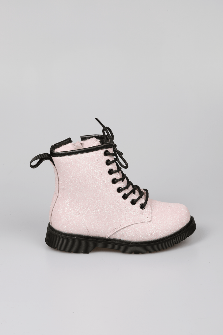 Millie Lace Up Faux Fur Lined Glitter Boots Pink From Little Attitude