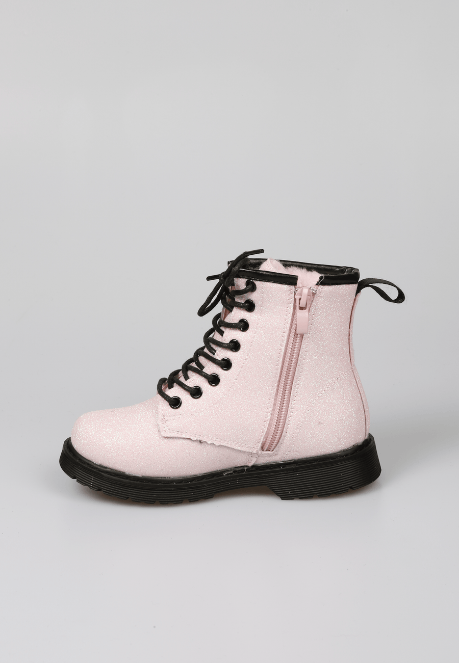 Millie Lace Up Faux Fur Lined Glitter Boots Pink