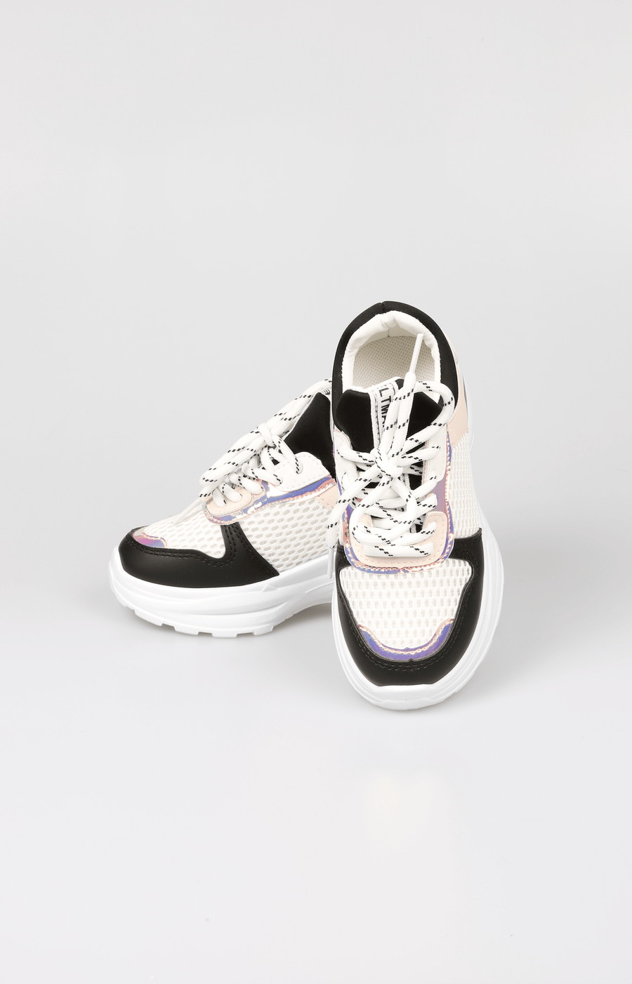 Sana Mesh Holographic Detail Chunky Sole Trainers Black/White