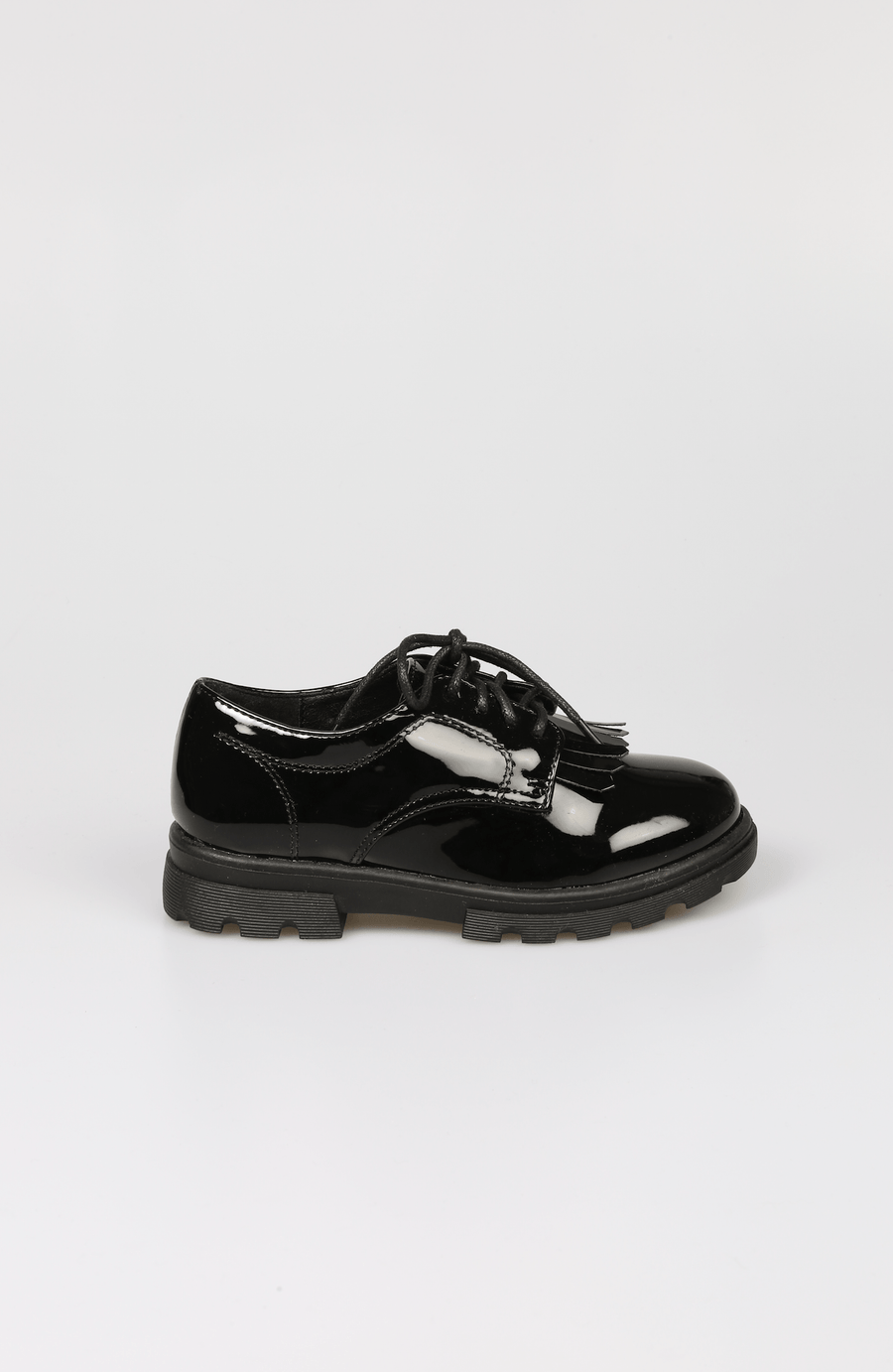 Layla Lace up Patent Black Brogues SS20 From Little Attitude