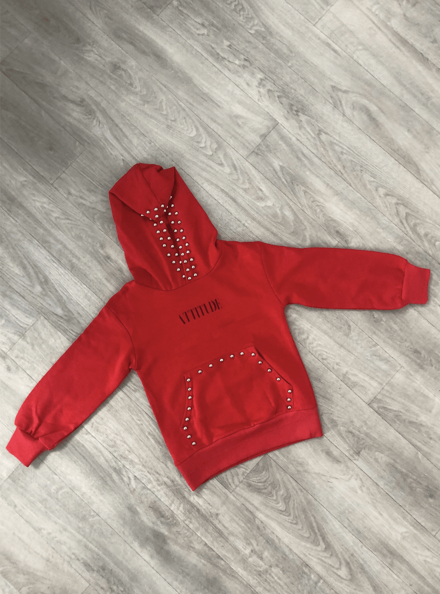 Taylor Studded Hoody Red  From Little Attitude