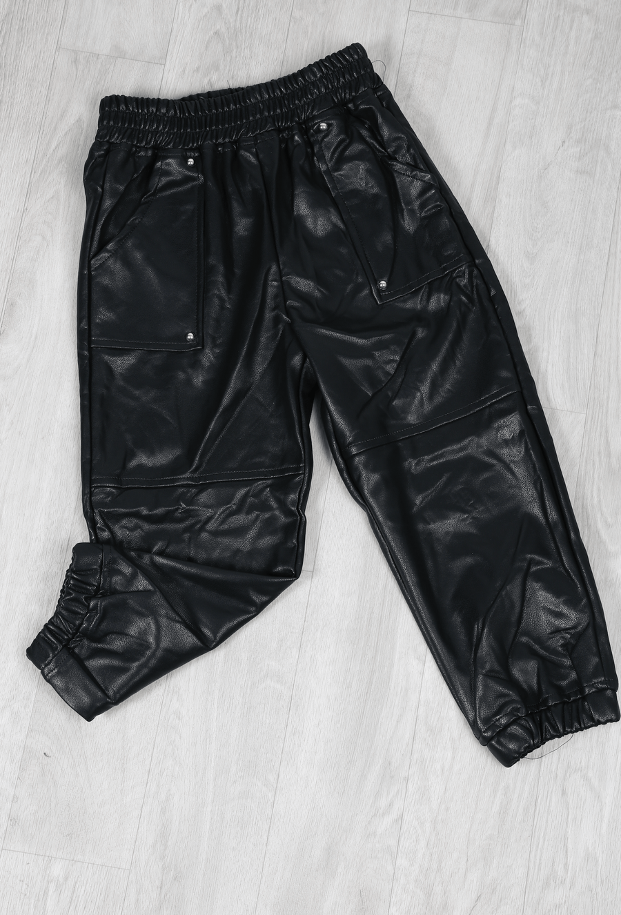 Maisie Pocket Detail Tapered Faux Leather Joggers Black