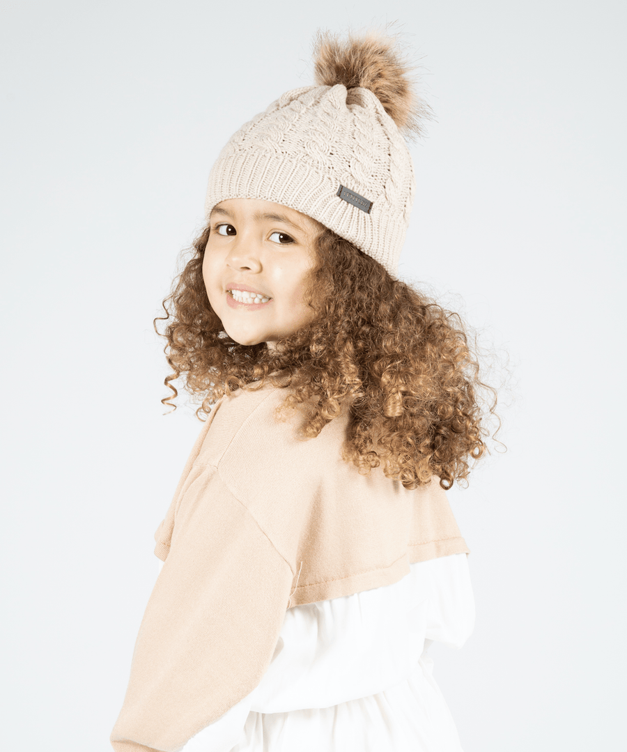 Crissy Attitude Badge Knitted Bobble Hat Nude