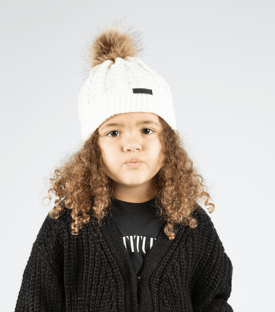 Crissy Attitude Badge Knitted Bobble Hat White