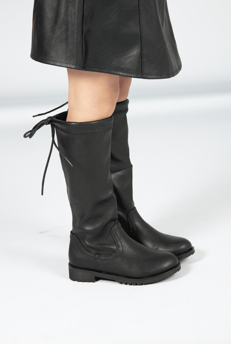 Rylee Knee High Boots With Tie Detailing Black Faux Leather Matte